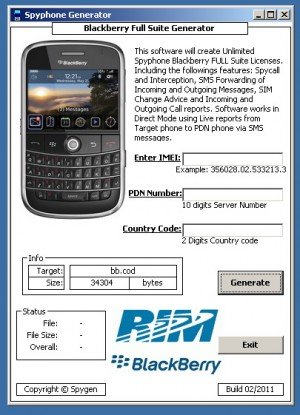 software generador de licencias spyphone espia celular blackberry